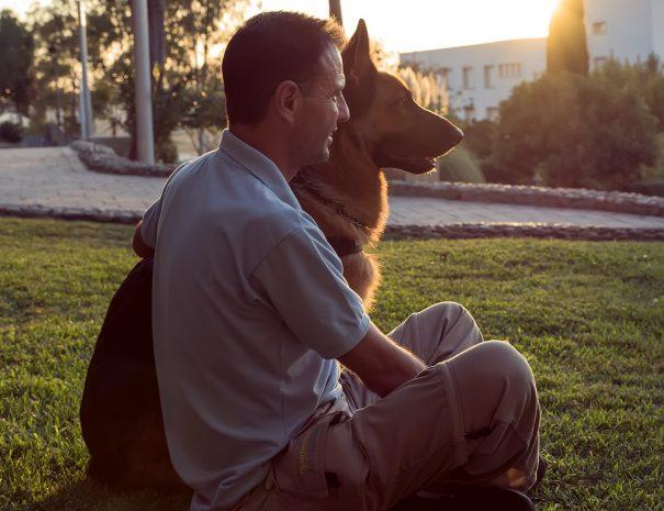 Perro obediente-junto a su dueño